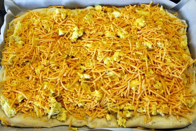 Next, add lots of shredded cheddar cheese.
